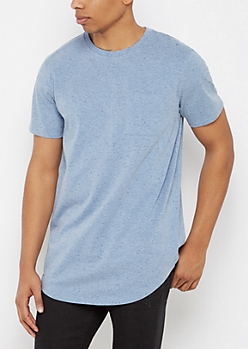 Blue Speckled Long Length Tee