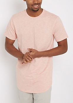 Coral Slub Long Length Essential Tee