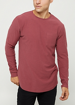 Burgundy Slub Jersey Knit Long Sleeve Tee