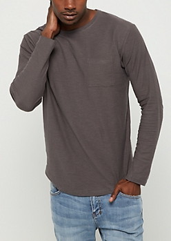 Charcoal Drop Yoke Long Sleeve Tee