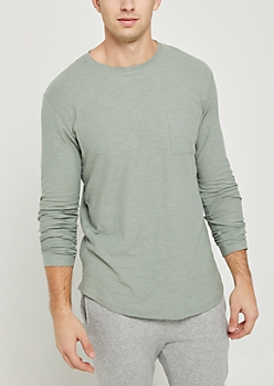 Green Slub Knit Long Sleeve Tee