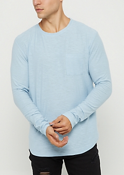 Light Blue Slub Knit Drop Shoulder Tee