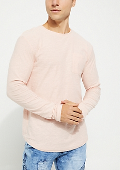 Pink Slub Knit Drop Shoulder Tee