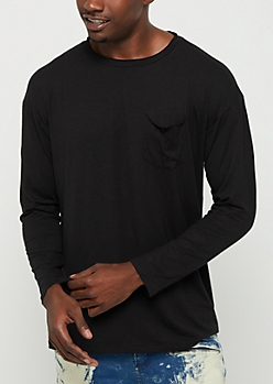 Black Soft Jersey Knit Long Sleeve Tee