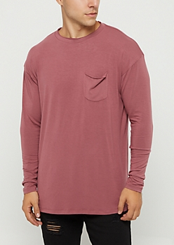 Burgundy Drop Yoke Long Sleeve Tee