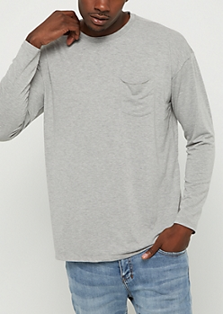 Heather Gray Drop Yoke Long Sleeve Tee