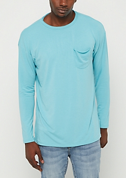 Light Blue Drop Yoke Long Sleeve Tee