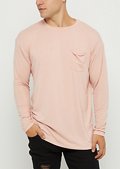 Pink Drop Yoke Long Sleeve Tee