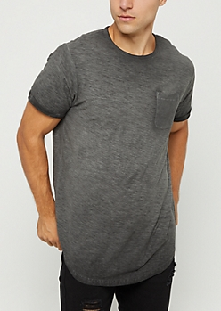 Black Washed Pocket Tee