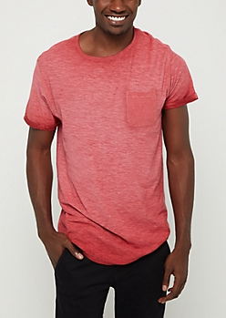 Burgundy Washed Pocket Tee