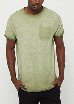 Olive Washed Pocket Tee