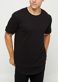 Black Double Layered Solid Tee