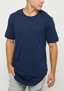 Navy Double Layered Solid Tee