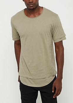 Olive Double Layered Solid Tee