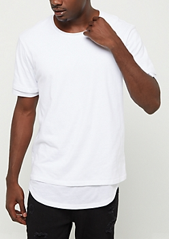 White Double Layered Solid Tee
