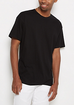 Black Relaxed Fit Essential Tee