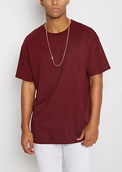 Burgundy Relaxed Fit Essential Tee