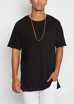 Black Raw Edge Step Hem Relaxed Tee