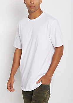 White Raw Edge Step Hem Relaxed Tee