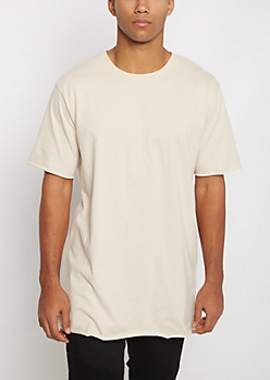 Sand Raw Edge Step Hem Relaxed Tee