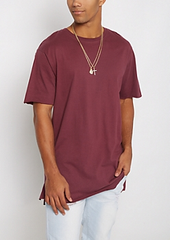 Purple Raw Edge Step Hem Relaxed Tee