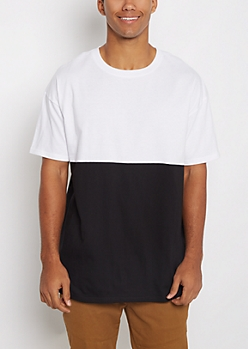 White Pieced Color Block Relaxed Tee