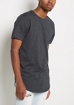 Charcoal Speckled Longer Length Essential Tee