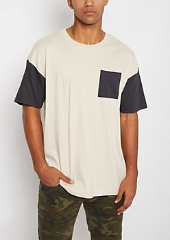 Sand Color Block Pocket Relaxed Tee