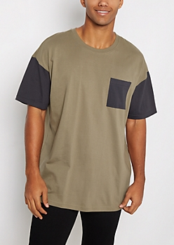 Olive Color Block Pocket Relaxed Tee