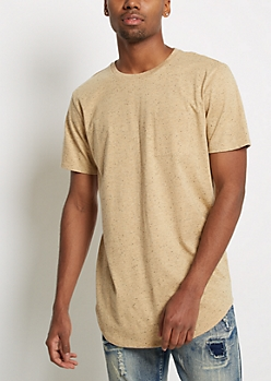 Camel Chest Pocket Speckled Longline Tee