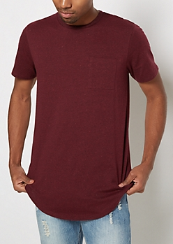Burgundy Chest Pocket Speckled Longline Tee