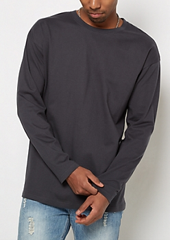 Charcoal Long Sleeve Relaxed Tee