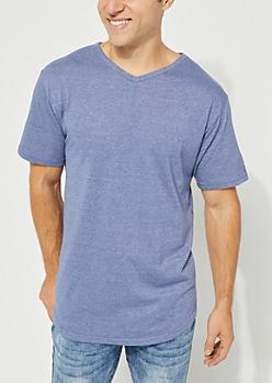 Blue Marled V-Neck Short Sleeve Tee