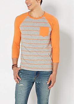 Orange Striped & Speckled Baseball Tee