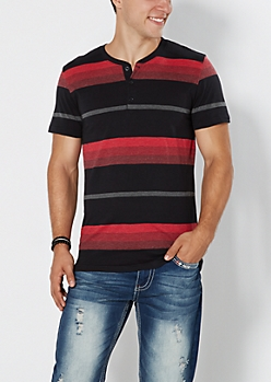 Red Striped Henley Tee
