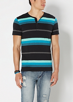 Teal & Mint Striped Henley Tee