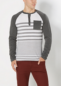 Charcoal Graduated Stripe Baseball Henley