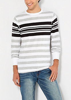 Black & Gray Striped Thermal Top