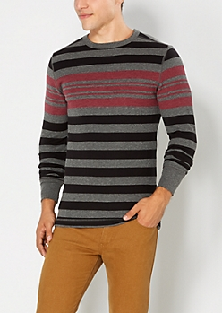 Burgundy & Gray Striped Thermal Top