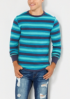 Navy & Turquoise Striped Thermal Top