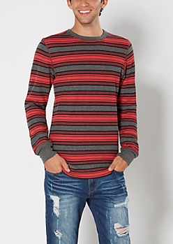 Red & Gray Striped Thermal Top