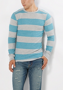 Blue Slim Striped Thermal Top