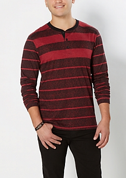 Burgundy Static Striped Henley Top