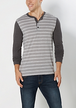 Gray Double Striped Henley