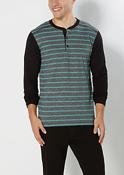 Charcoal Double Striped Henley