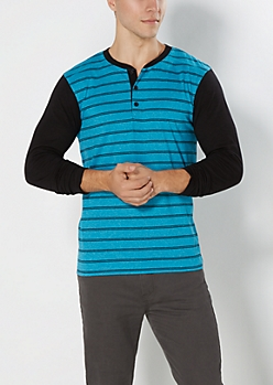 Turquoise Double Striped Henley