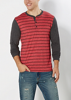 Red Double Striped Henley