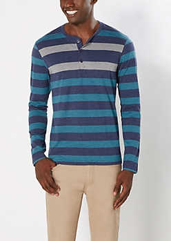 Blue Contrast Striped Henley