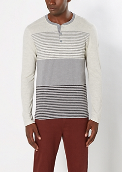 Charcoal Gray Striped Yoke Henley