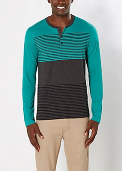 Light Green Striped Yoke Henley
